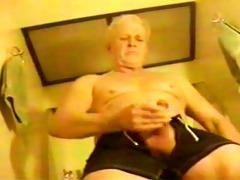 grandpa jerks in bathroom