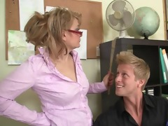 office doxy enjoys riding his meat