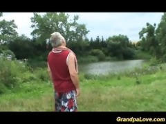 grandpa gets favourable with a blonde chick in