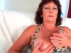 busty senior lady rubs her curly bawdy cleft with