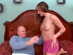 youthful schoolgirl gived pervert old stud