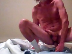 daddy rides his fat vibrator and cums
