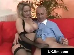 blonde slavic busty cutie sucks on an british old