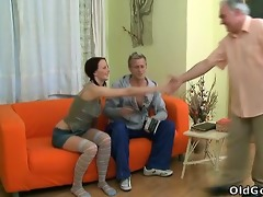 young babe screams out as an old dude gives her a