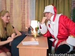 gorgeous youthful blonde gets to fuck santa claus