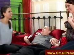 chicks straps down grandad to couch