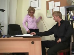 sexy office sex with mature wench