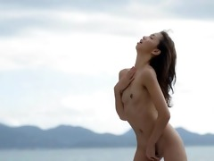 asian beauty finger by the ocean