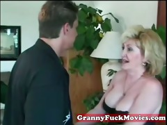 eager blonde granny with younger guy