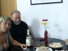 blond girl have fun fucking with her bf parents