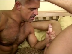 hot mature man sucks and copulates younger man