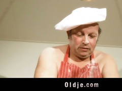dirty old man copulates sexy youthful blonde in