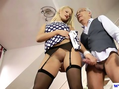 juvenile euro floozy plays with old mans rod