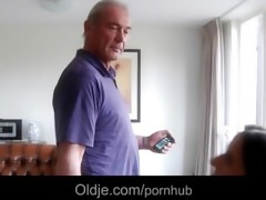 old man lured for fuck by a nympho gal in her