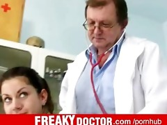 elder gyno doctor fingering and spreading his