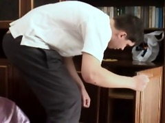 russian young boy and old gal hard home fuck