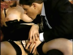 short hair lady, gigolo and cuckold