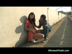 slender brunette hair gets wang in public place