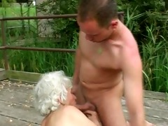 granny norma bonks and sucks outdoors