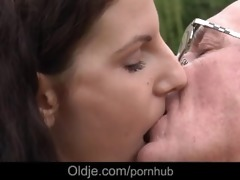 old fart fucking youthful brunette whore