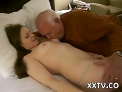 hot woman gets a fellatio from a 82 year old man