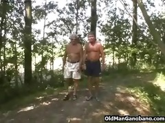 old fellows fuck cutie in a forest