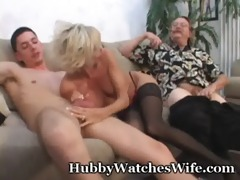 mature takes cum from juvenile man & hubby