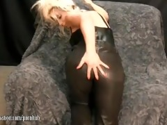 hawt milf takes off leather panties and plays