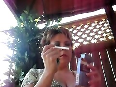 mature milf bbw smokin outside