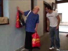 lustful juvenile guy bangs old blond woman mature