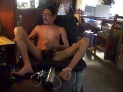 daddy masturbating after pumping his schlong