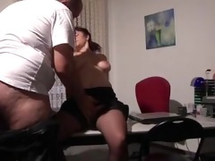 aged european secretary gets drilled at work