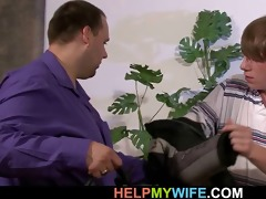 spouse watches as his hot wife is cuckolding on