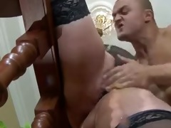 gal chubby mom in nylons &; muscled lad