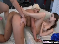 step-mom teaches the step-daughter how to engulf