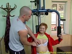 granny sucks coach`s cock