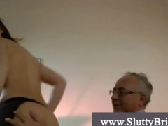 young brunette granddad fucker gets drilled hard