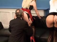 two older men take advantage of youthful blondes