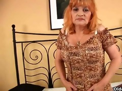 redheaded granny with large milk shakes sucks