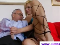 british lass sucking an old dick