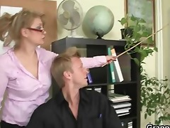 office lady gives head and receives fucked