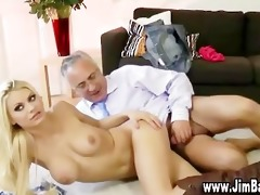 old stud gives jizz flow to hot blond