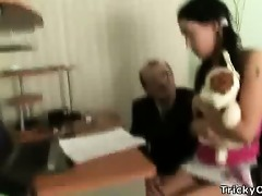 gorgeous brunette hair gets drilled by her teacher