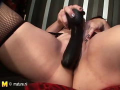shaved large mature mother playing with herself