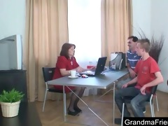 mature employment officer is fucked by lads