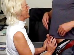 blond grandma sucking of a favourable youthful