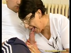 brunette hair busty old mom receives large cock