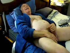 lustful daddy cum on bed