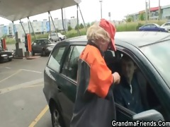 old whore swallows dongs outdoors