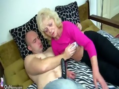 old chubby granny in the bed has sex with